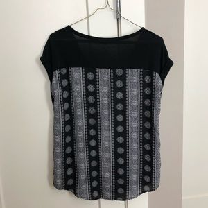 Black Top with Lace Shoulder and Printed Back